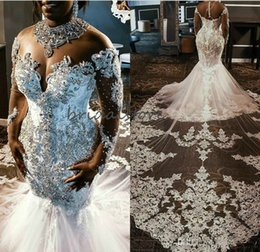 short sheer corset wedding dresses 2020 - Luxury Crystal Nigerian African Wedding Dresses Castle Cathedral Train Lace Wedding Gowns 2020 Long Sleeve Corset Robes