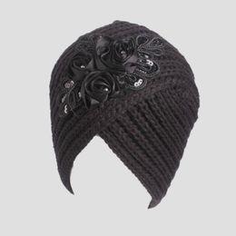 f1d85e053d4 Sequin Knit Hat UK - Sequin flower caps women winter hats lady casual  knitted skullies beanie