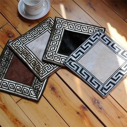 Discount square embroidery tablecloths - Velvet Embroidery Cup Mat Chinese Style Prevent Ironing Tablecloth Pad Western Style Food Coffee Mats Decorative Cushion