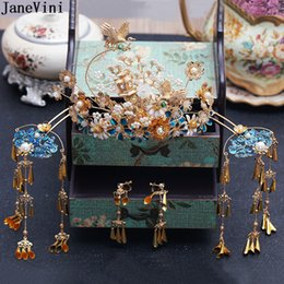 Chinese Hairpins Australia - JaneVini Traditional Chinese Style Bridal Headdress Ancient Phoenix Crown Pearls Blue Hairpins Brides Wedding Coronet Hair Accessories 2019