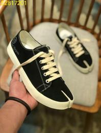 Discount maison sneakers - New 2019 MM6 Maison Margiela men canvas sneakers Lace up shoes Espadrille Zapatillas Man 38-44 n018