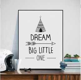 Life Quotes Painting Australia - Black White Nordic Minimalist Dream Quotes Art Print Poster, Nursery Wall Picture Kid's Room Decoration oil painting