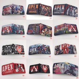 Cosplay Coins Australia - 30pcsApex legend Wallet Cosplay Teenager Student Short Wallet With Card Holder Coin Pocket Game Purse Cartoon children Kids Gift Bag 25style