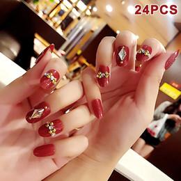 best nail art set 2019 - Best 24Pcs Set Fake Nails Tips Crystal Top Finish Wedding Brides Nail Art Tips Decor QQ99 discount best nail art set