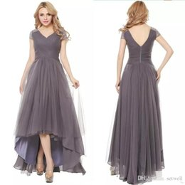 high neckline low back prom dresses Australia - 2017 Grey Elegant V-neckline Chiffon Evening Dress A-line Short Sleeve Beaded High Low Tulle Prom Dress Formal Wear