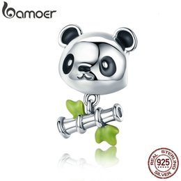 sterling silver panda charm Australia - BAMOER Real 100% 925 Sterling Silver Lovely Bamboo & Panda Animal Charm fit Girls Charm Bracelet DIY Jewelry Girls Gift SCC325 CJ191116