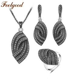 $enCountryForm.capitalKeyWord UK - Feelgood New Design Silver Color Vintage Jewellery Set Fashion Black Crystal Jewelry Sets For Women Wedding Party Birthday Gift C19021601