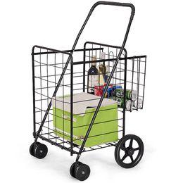 Panier pliant Panier à provisions Épicerie Blanchisserie Voyage avec roues pivotantes Nouveau en Solde