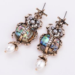 Egypt frEE shipping online shopping - Vintage Jewelry Cool Scarab Beetle Insect Earrings Egypt Meatl Crystal Rhinestone Dangle Drop Earring