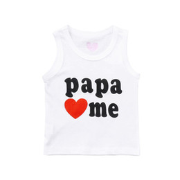 Children White Tees Australia - Summer Baby Clothes Baby Girl Tops And Tees Children Kids Boy Girl Sleeveless Letter Heart Printed Vest T-shirt Clothes #5JE13