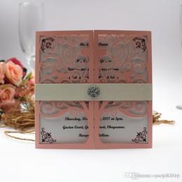 Wedding cards invitation diamonds online shopping - Elegant Love Tree Wedding Invitation Cards with Diamond Belt Shimmer Pink Wedding Party Invites with Envelope Free Printing