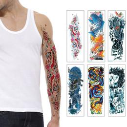 a4fef6167a2e9 Men Temporary Tattoos NZ - Cool Woman Man Full Arm Tattoo Sticker Big Large  Fish Carp