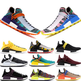 Chinese  With Box Best Selling Human Race NOBLE CRIMSON Running Shoes Men Women HU Pharrell Yellow Species Black Pharrell Oreo Designer Shoes manufacturers