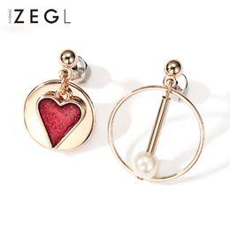 $enCountryForm.capitalKeyWord Australia - Zegl Geometric Fashion Red Love Heart Personality Circle Pendant Statement Earrings J190630
