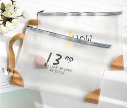 wholesale clear pvc cosmetic bag Canada - 200pcs 2019 Clear Cosmetic Bag Women Brief Plain PVC Letter Printed Makeup bags Mix Style Student Large Capacity Zipper Storage Bag