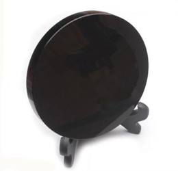 $enCountryForm.capitalKeyWord UK - High quality 100% natural black obsidian rock stone circle disk round plate fengshui scrying mirror for home & office decoration