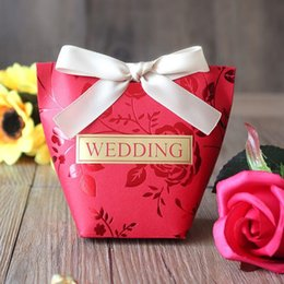 Paper House Small Australia - Red Wedding Favor Box Rose Wedding Cookie Packages Boxes Small Gift Present Little Boxes for Marriage