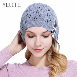 Leaves Lace online shopping - YELITE Autumn Women Knitted Solid Hat Lady Knitting Beanie Skullies Hat Female Leaves Hollow Out Lace Button Winter Warm Bonnet