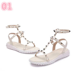 Genuine Leather Sexy Australia - 3A 2019 Designer women Genuine Leather flat party fashion rivets girls sexy Bare feet shoes wedding shoes Double straps sandals 3A