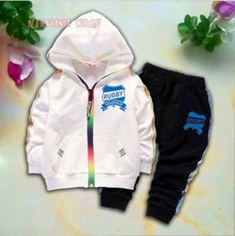 $enCountryForm.capitalKeyWord Australia - CHMP NO1 Kids Cardigan Coats And Pants 2Pcs sets 1-4T Children Sports Sets Rainbow Zipper Long Sleeve Colorful Striped Summer Suit