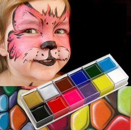 $enCountryForm.capitalKeyWord Australia - 12 Color Face Paint Body Art Painting Oil Fashion Flash Tattoo Non-toxic Halloween Crayon Party Oil Painting Art Make Up Set Tools Party BB