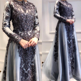 Champagne long feather dresses online shopping - Aso Ebi Arabic Muslim Silver Lace Beaded Evening Dresses High Neck Sexy Prom Dresses Long Sleeves Formal Party Second Reception Gowns