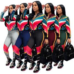 Discount plus size jogger suits - Multi Color Stripe Winter Women Jogger Sport sweat Suit Tracksuits Casual Sportwear Long Sleeve jacket Pants Set Outfits