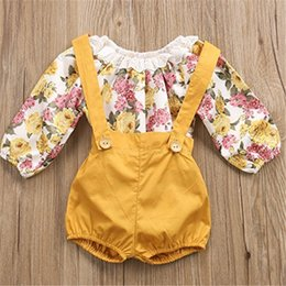 Cute Toddler Girl Rompers NZ - Ins Infant Girls Rompers Shorts Toddler Lace Floral Long Sleeve T Shirt + Ordinary Shorts 2 Piece Onesies Kids Baby Boutique Outfits A41703