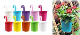 $enCountryForm.capitalKeyWord Australia - HOT Colorful Hanging Flower Pot Hook Wall Pots Iron Flower Holder Balcony Garden Planter Home Decor Plant Pots Flower Holder Garden Supplies