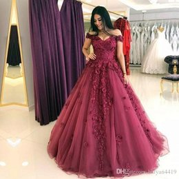 Sweetheart Beaded Evening Tulle Champagne Australia - New Prom Dresses Off Shoulder Sweetheart Ball Gown Lace Appliques Beaded Flowers Plus Size Burgundy Tulle Party Dress Evening Gowns
