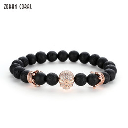 $enCountryForm.capitalKeyWord Australia - Zoran Coral 2018 Hot Lava Stone Beads Bracelets Fashion Crown Skeleton Men Women Charm Bracelet Jewelry Gift charm bracelet