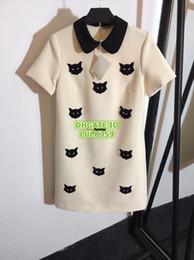 $enCountryForm.capitalKeyWord NZ - Women Brand Shirt Dress With Cat Beading Girls High-End Custom Knee-Length Dress Two Colors Female Runway Shirt Tee Dress
