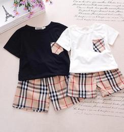 883c10ea6 ropa de niños marca establece niños niña Trajes Niño ocio deportivo traje  bolsillo camiseta + pantalones cortos de PLAID niños verano traje verano  camisa ...