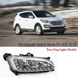 hyundai lighting Australia - car stying DRL Daytime Running Lights LED Fog Lamps for Hyundai Grand Santa Fe IX45 2013+ auto Accessories