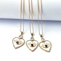 $enCountryForm.capitalKeyWord Australia - Metal Copper Heart Eye Pendant Necklace, Cubic Zirconia Enamel Charm,Handmade Gold Chains Lucky Jewelry Necklaces NK444