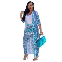 cross print cardigan UK - Sexy 2 Piece Set Women 2019 Plus Size Cardigan Cloak Long Tops And Bodycon Pants Suit Casual Summer Two Piece Outfits WF237