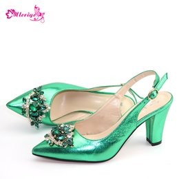 $enCountryForm.capitalKeyWord Australia - Green Color New Arrival Summer Low Heels Shoes for Women Ladies Sandals Nigerian Women Wedding Shoes Decorated with Rhinestone