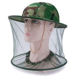 Wholesale Outdoor Camouflage Cap Sun Protection Fishing Hats Insect Bee Mosquito Resistance Bug Net Mesh Head Face Hat cny1357