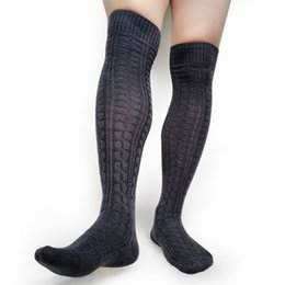 over knit sock UK - Over Knees Stocking for Mens Sexy Cotton Winter Warm Long Knit socks Mens Business Formal Dress Suit Boot Socks Hose Striped