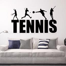 Media Player Australia - Vinyl Decal Tennis Player Wall Sticker Tennis Logo Art Murals New Design Gym Decor Removable Tennis Wall Decals