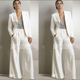 panting pictures Australia - 2019 Slivery Sequins Top White Pants Suits Mother Of The Bride Dresses Formal Chiffon Tuxedos Women Party Wear