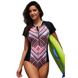 b48f640fbd Zip Swimsuit Australia - Womens Plus Size One Piece Rashguard Removable  Padded Zip Front Surfing Swimsuit