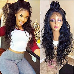 dark burgundy lace front wigs UK - Top Quality Long Water Wave Swiss Natural Black Synthetic Lace Front Wig Natural Hairline Heat Resistant Fiber Lace wigs for Black Women