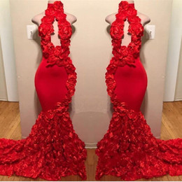 Luxury cocktaiL dresses online shopping - Red New Design Mermaid Prom Dresses Appliques High Neck Sexy Formal Evening Dresses Sweep Train Satin Luxury Fashion Cocktail Party Gowns
