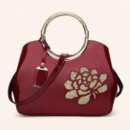 $enCountryForm.capitalKeyWord Australia - Rose pattern designer gold color handle high quality leather women tote bags shoulder Handbag with Metal Decoration bolso de mujer