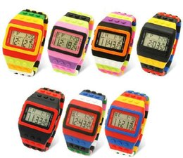 Rainbow Glasses Plastic NZ - Rainbow Multicolor Bricks LED Wristwatch SHHORS Fashion Rubber Digital Sports Week Night Light Plastic Jelly Candy Watches 100pcs