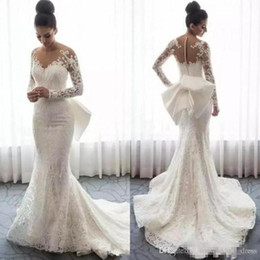 $enCountryForm.capitalKeyWord Australia - Full Lace Wedding Dresses Spring Autumn Wear Sheer Neck Long Sleeves Bridal Dress With Bow Back Covered Buttons Mermaid Wedding Gowns