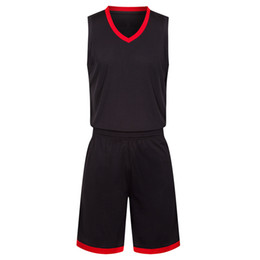 red basketball jerseys UK - 2019 New Blank Basketball jerseys printed logo Mens size S-XXL cheap price fast shipping good quality Black Red BR0002