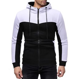 winter warm hoodie zip up NZ - 2019 New Style Hot Fashion Men Thick Zip-Up Hoodie Winter Warm Hooded Jumper With Hat Tops Patchwork With Pocket
