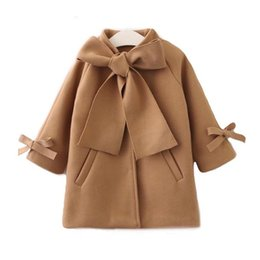 Ingrosso Bambini per bambini Bambini Bambini caldi in lana bowknot trench cappotto soprabito in giacca